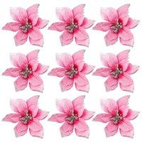 Decorative Flowers & Wreaths 50 Pack Glitter Poinsettia Christmas Tree Ornaments 5Inch Artificial Silk Picks Decor Wreath Garland (Pink)