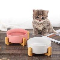 Haustierschüssel Keramikkatze und Hundegerichte mit Holzständer ohne Speisen des Feeders Kleine Tierschüsseln