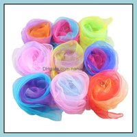 Wraps Hats, & Gloves Fashion Aessorieswholesale Women Gradient Color Square Imitated Silk Scarves Girls Dancing Small Scarf Thin Chiffon Nec