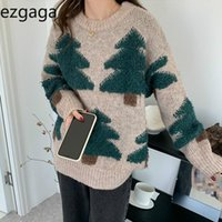 Ezgaga Pine Tree Pull Jumper Femmes Coréen Outwear Outwear O-Cou Ourier épais épais pull tricoté Chic Softwear Streetwear Pulls pour femmes occasionnelles