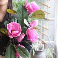 Flores decorativas grinaldas jardim festa magnólia diy folhas decoração de escritório casamento simulação artificial planta buquê decorações falsas casa