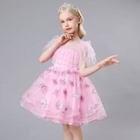 Girls Dresses Princess Kids Clothes Children Clothing Childrens Skirt Evening Summer Embroidered Butterfly Sequin Party Dress B7647