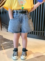 SK INS Korean Fashions Girls Denim Shorts with Belt Front Pockets Designer Pants Children Trousers