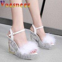 Voesnees Brand Pvc Wedge shoes Fur sandals Lovely Crystal Heel Platform Sandals High Heels 10cm Women Party Shoe 210712