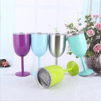 10oz Goblets Stainless Steel Double Wall Glass Wine Tumbler Insulation Vacuum Cocktail Glasses With Leakproof Lid Cup sea ship EWE6597