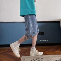 Men's Shorts 2021 Summer Loose Short Jeans Fashion Slit Decor Denim Dark Blue Pants Male Brand Clothes S-2XL