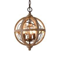 Retro Chandelier Lighting Industrial Hanging Pendant Lamp Globe Dining Living Room Wood Farmhouse Vintage Island Light Chandeliers