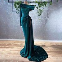 2021 Dark Green Evening Gowns Velvet Off the Shoulder Women Formal Party Prom Dress High Slit Sweep Train Vestidos De Fiesta