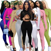 Women Tracksuits Two Pieces Set Deisgner Outfits Slim Sexy Solid Color Cross Cut Sports Pink Outfits Cardigan Long Sleeve Pants Jogger Sets