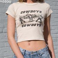 Yozou mulheres verão o-pescoço vintage padrão de cowboy impressão de manga curta colheita t-shirt to toe para fêmea YL-286 210317