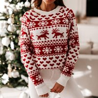 Frauenpullover Lusofie Pullover Frau Frauen O Neck Elch Schneeflocke Weihnachten Weihnachten Pullover Strick Femme High Street Tops