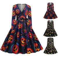 Casual Dresses 2021 Est Halloween Women Vintage Long Sleeve Costume Housewife Evening Party Prom Full V-Neck Pleated Dress