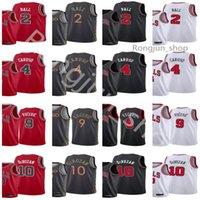 2021 Trade Maglie da basket Screen Stampa Alex Caruso 4 Lonzo Ball 2 Demon Derozan 10 Nikola Vucevic 9 Black Bianco Red Color Camicia sportiva traspirante