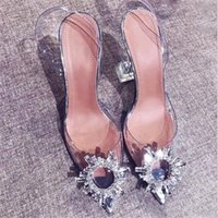 transparent crystal sunflower drill buckle pointed super high heels wine glass wedding shoes large sandals for women