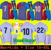 حجم S- 4XL camisetas دي football messi كون aguero برشلونة لكرة القدم الفانيلة barca fc 21 22 ansu fati 2021 2022 griezmann f.de جونغ dest pedri كيت قميص الرجال الاطفال مجموعات الجوارب