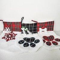 크리스마스 스타킹 고양이 개발 스타킹 솜털 산타 양말 눈송이 크리스마스 트리 장식 축제 선물 가방 rra9206