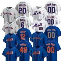 2021 Mets Baseball Jerseys 12 Francisco Lindor 20 Pete Alonso 48 Jacob Degom 31 마이크 피아자 40 Wilson Wacha Wilson Jersey