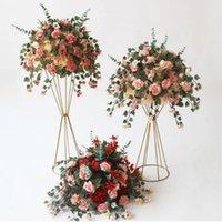 Fleurs décoratives Couronnes Soie Artificielle Soie Flower Porte-boule pour Mariage Centerpiece Maison Décoration Fournitures DIY Craft 7 Couleur