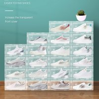 Пластиковая прозрачная стойка для обуви складные стекируемые ящики для хранения дисплея наложенные комбинированные туфли контейнеров кабинета коробок
