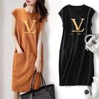 2021 Yaz Çapraz Kenarlık Elbise Dış Ticaret Yeni Kadın Giymek Büyük Orta ve Uzun Trend Gevşek Baskılı Kolsuz