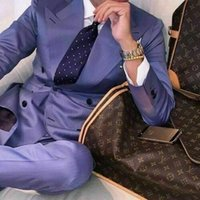 Men's Suits & Blazers Male slim fit lavender suit, two pieces, tuxedo, wedding, graduation, work clothes QG4B