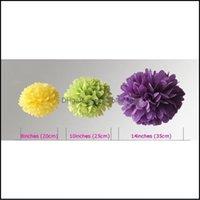 Fleurs décoratives Couronnes Festive Party Fournitures Accueil Jardin! 50pcs Tissu Poms Pape Lanterne Pom Blooms Boules de fleurs 6/8 / 10/20 / 14 / 14INCHES M