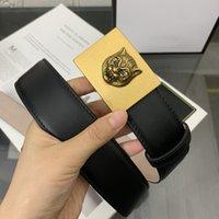 Herrengürtel Breite 38mm Leder schwarz Tiger Kopf Klassische Gold Glatte Schnalle Weißer Rahmen Staubdichte Geschenksack # LY95-125 cm