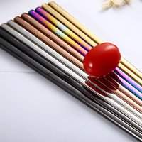 Metal CHILLADORS CHILLINGS GLOSSY TITANIO PLAZADO ANTI SCALDING High-Garde 304 Acero inoxidable Rainbow Golden Black Chopstick GGA4442