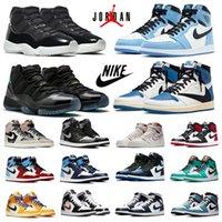 Siyah Beyaz Jumpman 1s erkek Signal University Mavi basketbol ayakkabıları 11s Breed Concord 11 UNC Hyper Royal Court mor 1 Gölge 2.0 erkek kadın spor ayakkabı Kutusu ile