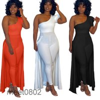 2021 Moda Yeni kadın Zarif Tulum Abiye Kısa Kollu Pantolon Suit Balo Parti Abiye ile Cape 2021 Bir Omuz OneSise