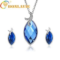 Earrings & Necklace Wedding Silver Color Jewelry Sets Big Blue Stone Rhinestone Pendant Choker For Women Female Fashion