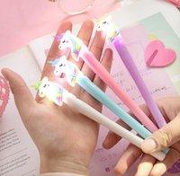 Gel Pens 0.5mm Night Light Rainbow Lovely Unicorn Modeling Creative Cartoon Korean Luxury Pen Student Gift Writing Supplies SN3084