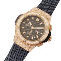 High Quality Men Watch 42mm Rubber Strap Diamond Case Rose gold quartz Man Watches Master Male Wristwatch