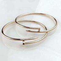Luxo Qualidade Prego Fino Bracelete em 18k Rose Gold Pled tem diamantes e sem diamante para as mulheres engajamento jóias carimbo de presente ps3167