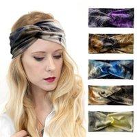 Winter Warm Gold Velvet Gradient Color Headband Turban Women Girls Head Bands Cross Knotted Hairbands