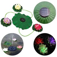 4 PCS Heads  Bundle Artificial EVA Flower Lotus Lamp Solar Charge Folating Pool Lily Night Light For Outdoor Garden Decoration
