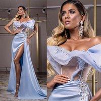 2021 Blue Satin Evening Dresses For Women Applique Tulle High Split Mermaid Prom Party Gowns Long Wrap Formal Robe De Soirée
