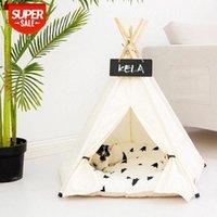 Blanco acogedor perro tienda sofá cómodo plegable Cat Soft Bed Casa de algodón Casa de peluche Mat portátil Tepee Cushion Sleeping Pet Kennel # TB3N