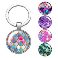 Colorful Shinning Style Fish Scale Glass Cabochon Keychain Bag Car Key Rings Holder Silver Plated Key Chains Men Women Gifts