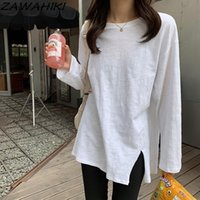 Women's T-Shirt ZAWAHIKI Mujer Camisetas Solid Loose Long Sleeve Spring Summer Woman T Shirts Korean Casual All Match Tops Tee Style
