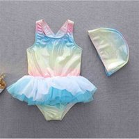 Summer Ins Children's Swimsuit Magic Color Sweet Ballet Princess Lace Skirts Cross Tankinis With Swimming Cap Kids One Piece Swimsuit G60N2OK