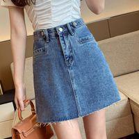 Skirts REALEFT 2021 Spring Summer Denim Sexy Mini High Waist Casual Jeans A-Line Cowboy Female Pockets