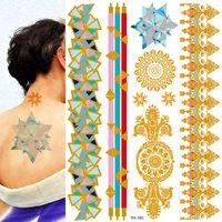 Tatouage flash triangle or métallisé autocollant étanche métallique art tatoo bleu chatoyant bijoux festival tatouages temporaires