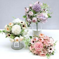 Decorative Flowers & Wreaths 7 Heads Hydrangea Artificial Bouquet Silk Blooming Fake Peony Bridal Hand Flower Roses Wedding Centerpieces Dec