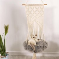 Cat Beds & Furniture Hand-Woven Hanging Basket Swing, Pet Flower Mesh Cage Nest Swing Bed Hammock Toy Washable, All Seasons