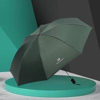 Umbrellas Bold Sunscreen Rain Umbrella Automatic Fold Wind Resistant Three 8 Bones Solid Color Outdoor Cute Anti-UV Parasol