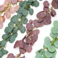 Dense foglia artificiale eucalipto Ghirlanda Faux Seta Eucalyptus Vines Handmade Garland Garland Greenery Sfondo da sposa Arch Decorazione da parete CCF5673
