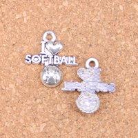86pcs antique argent bronze plaqué I Love Softball Charms pendentif bricolage collier bracelet raccordements de bracelet 21 * 19mm