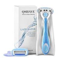 Shaver Qshave It Lady Shaving 5-blad Razor Women Bikini Hair Removal Blade Epilator Made in USA, Razor + 2 Patroner + Hållare + Stick