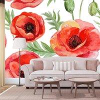 Sfondi personalizzati Rosso Pittura floreale Casa Home Decor Murales 3D Murales per soggiorno Pareti da tavolo Desktop Contatto PVC Parete
